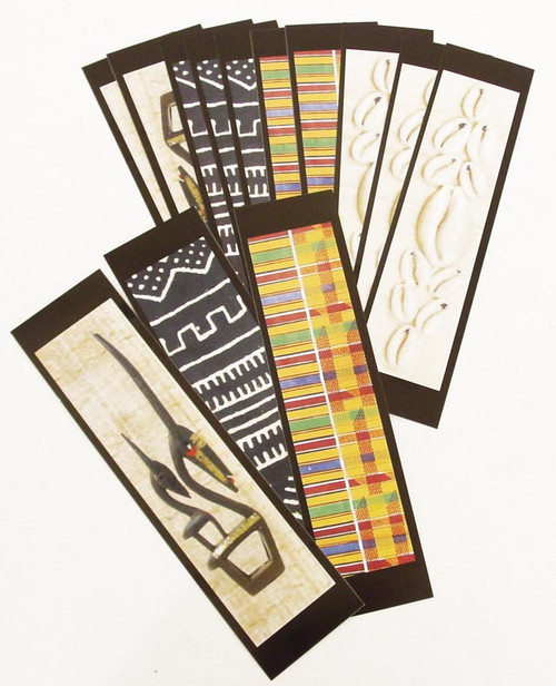 "Enhance your love of reading with a African Inspired Bookmark in various prints.  Each bookmark is glossy coated and inspired by vibrant African culture. No two are alike, and no individual selections can be made.   Size: 2"" W x 8"" L."