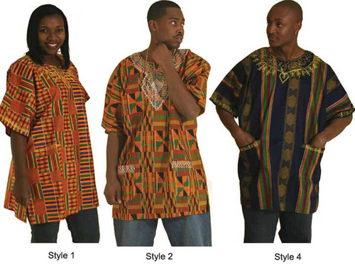 "Plus Size Kente Dashiki Top; embroidered neckline and double pockets. 100% Cotton; fits up to a 52"" bust. Length: 35"". Available in Style #1 only."