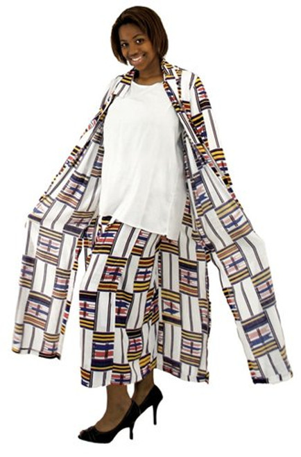 "White Kente Duster Skirt Set  100% rayon. Dry clean only. Made in Indonesia.  Large size fits up to a 47"" bust, 26"" shirt length, 34"" waist, 39"" skirt length. Jack is 52"" long. 3X size fits up to a 56"" bust, 26"" shirt length, 42"" waist, 39"" skirt length. Jack is 52"" long."