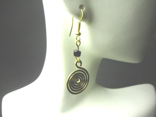 Brass Coil Earrings  Gold Brass 2.5' length Made in Kenya