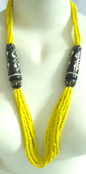 "14-16"" Yellow Beaded Bone Necklace. Made in India."