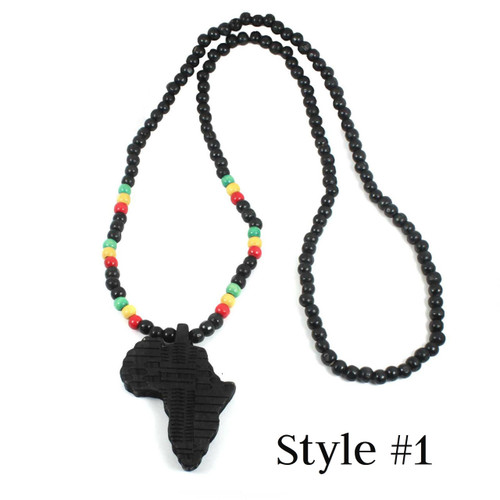 "Black Africa Map Wooden Pendant Necklace.....19"" Necklace + 3.5"" Map Pendant."
