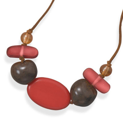 """Brown Cord  & Stone Necklace.  6"""" brown cord fashion necklace with resin, kukui nuts and orange wood beads. The center wood bead is approximately 45mm x 25mm."""