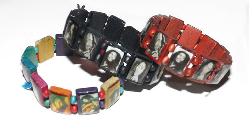 "Bob Marley Wooden Stretch Photo Bracelet  Bob Marley photo bracelets; 1"" square portraits of legendary Bob Marley.  One size fits most & comes in various prints."