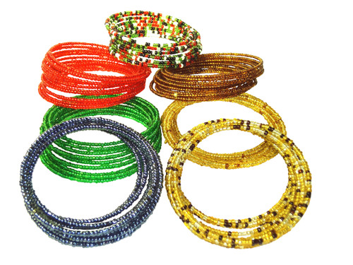 "Coil Beaded Bracelets  Thin beaded coil bracelet extends to 8"" long.  Made in Kenya"