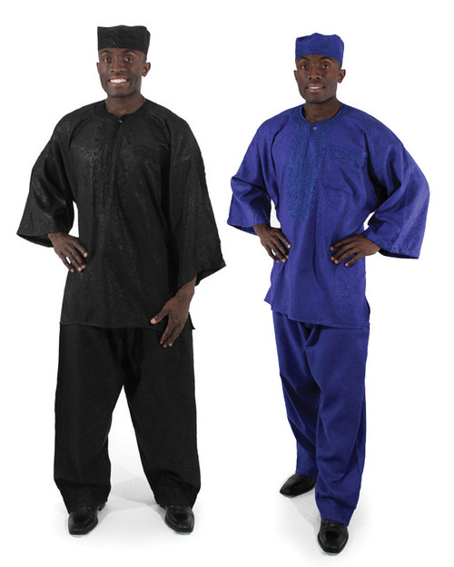 "Formal Men's Pant Set  100% cotton with embroidered detail sets this pant set apart with distinction.  Free Size Shirt fits up to 52"" bust and 29"" length. 16"" sleeves. Pants fits up to 56-58"" waist with 29"" inseam and 42-45"" overall length. Includes matching kufi hat. Made in India."