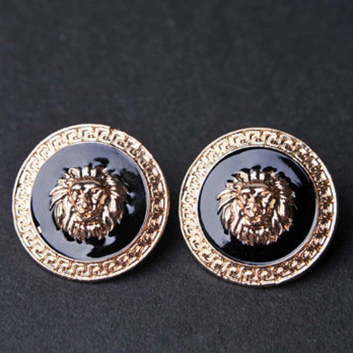 "Gold Tone Lion Head Disc Earrings  Size 1/1/4"" H x 1 1/4"" W. Boarder color may vary with more black than gold. Made in China."