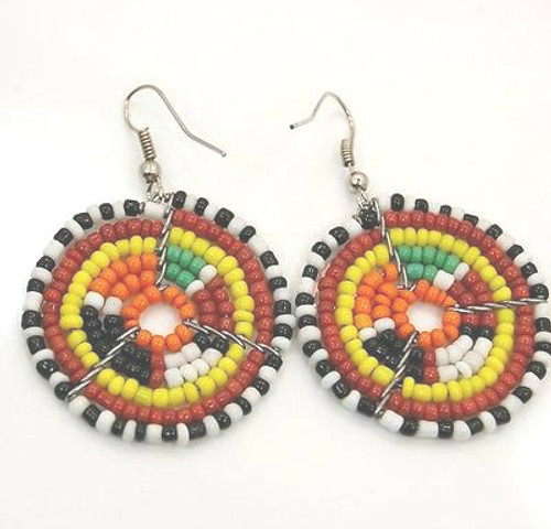 "Small Round Maasai Beaded Hoop Earrings 1 1/4"" diameter and app. 2"" long. Made in Kenya."
