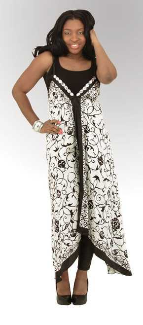 """Black/White Shimmering Sun Dress  Any evening in this lustrous clear beaded halter dress. Bold designs, vibrant colors, and a soft silky feel make this a dress that can't go unnoticed. 100% polyester; spot clean by hand. Large fits up to a 36"""" bust and approx. 58"""" length (tie straps are adjustable). Made in India."""