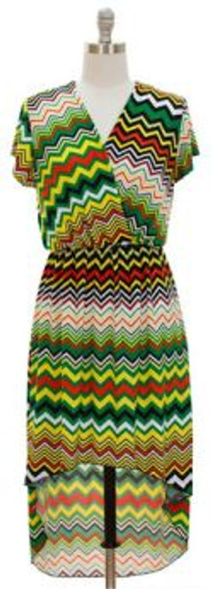 "Rasta High Low Zig Zag Dress features short sleeves with a surplice bodice look, back panel falls to calf and front panel is knee length. Sizes S, M, L, XL  Fits a bust up to 38"" . Elastic waist for comfort.  Polyester & Spandex material."