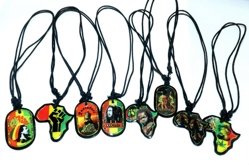 "Reggae Pendant Necklaces...black corded necklaces are adjustable to fit to make long or shorten. Pendant is 1.5"". Necklaces adjusts up to 15"" in length."
