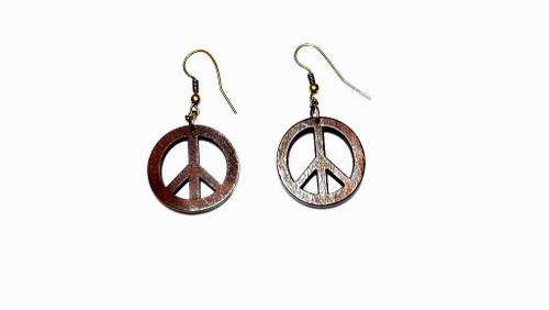 "2"" Wooden Peace Sign Earrings"