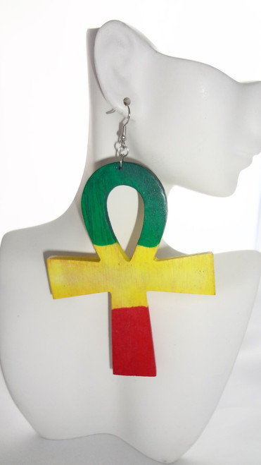 "3.5"" Wooden Flat Ankh Earrings"