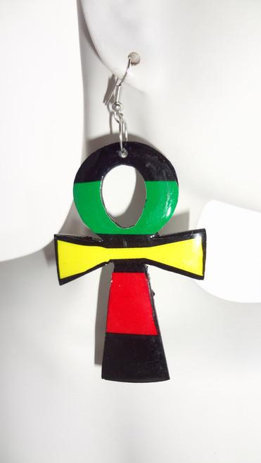 "3.5"" Rasta Ankh Acrylic Earrings. Handmade in Peru."
