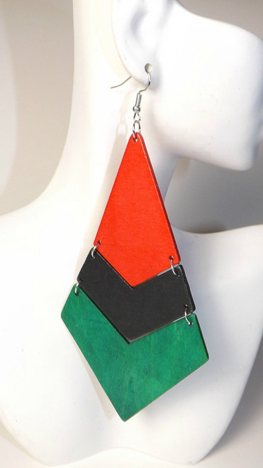 "5"" African Wooden Diamond Slat earrings."