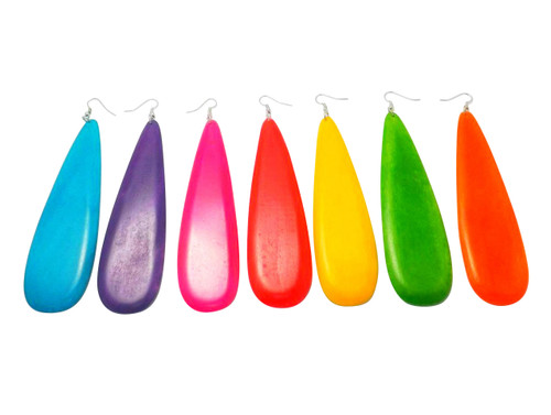 "Long Teardrop Wooden Earrings  5"" in length....available in Lime Green, Mustard, Red, Pink, Aqua, Purple, Orange.  Made in China."
