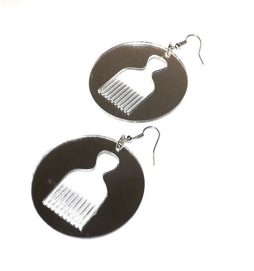 "2.5"" Silver Acrylic Afro Pick Mirror Earrings"