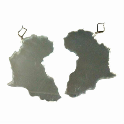 "4"" Acrylic Africa Map Earrings (Silver)"