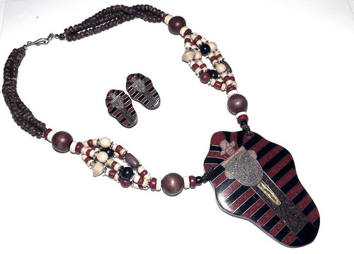 """King Tut Egyptian Necklace Set  1.5"""" Earrings, Necklace is 12"""" length, Pendant is 4"""" Hook closure."""