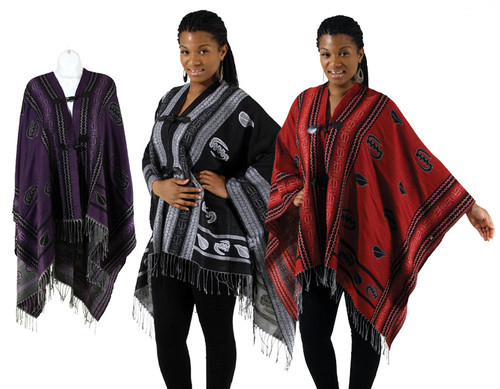 Keep warm with this soft and stylish poncho decorated with Cowry shell and Gye Nyame symbols. The Gye Nyame is the West African symbol of the supremacy of God. This unique and beautiful symbol is ubiquitous in Ghana. It is by far the most popular for use in decoration, a reflection on the deeply religious character of the Ghanaian people. Cowry shells figure prominently in many West African cultures as a sign of fertility.