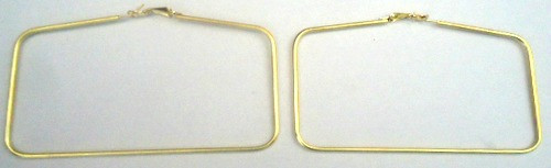 """3.5"""" Brass Rectangular Hoop Earrings  Brass rectangular styled hoop earrings; wear at your next 70's party.  Clamp & Stick closure: Made in India."""