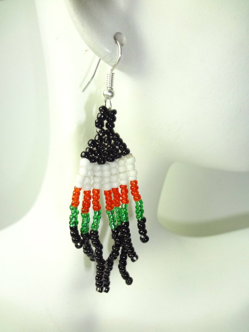 "1.5"" African Beaded Dangle Earrings."