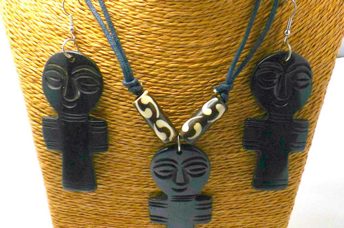 """African Asante Fertility Doll Necklace Set  Simply stunning set....nice size earrings and pendant   Earrings are 4"""" and Necklace is 10"""" and adjustable with a double cotton cord necklace."""