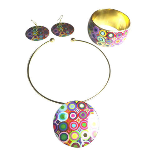 """70's Psychedelic Necklace Set  Go down memory lane with this colorful psychedelic necklace set. Set includes 12"""" choker, 1.5"""" earrings and matching bracelet.  Bracelet fits a size small; opening is 2.5"""" or 67mm."""