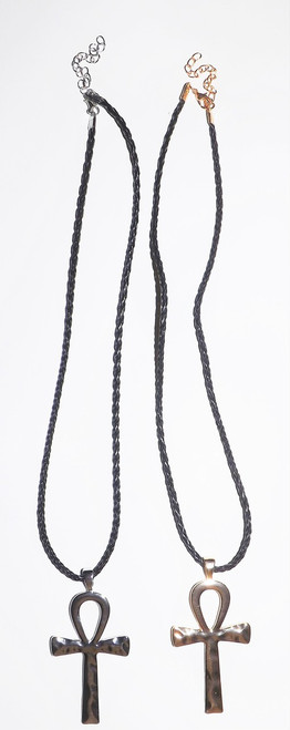 "12"" Faux Leather Ankh Hammered Necklaces with 3.5"" pendant."