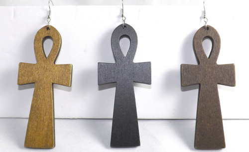 "4"" Wooden Ankh Earrings.  (Medium Brown, Black or Dark Brown."