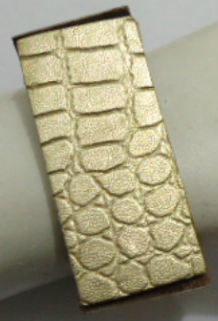 Gold Faux Leather Box Bracelet  Expandable bracelet in faux gold leather.  One size fits mos. Made in India