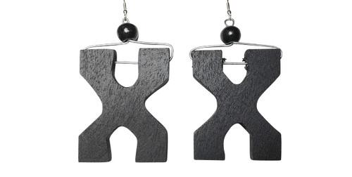"2.5"" wooden Malcolm X inspired earrings."