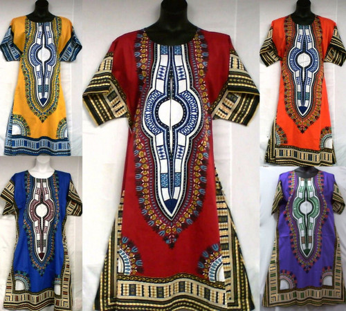 "Traditional African Dashiki Dresses  Traditional African print style, round neck, short sleeved dress.  14"" front zipper; two deep side pockets.   Fits up to a 48"" bust, 50 hip, length is 47"". 100% Cotton.  Made in Thailand."