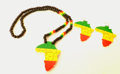 """African Countries by Continent Themed Necklace Set  Wooden Necklace with matching earrings; features countries by continent in Africa.  Necklace is     19"""" Earrings are 4"""" and pendant is 3.5""""."""