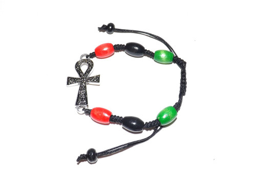 "Red Black Green (RBG) Beaded Ankh Bracelet  Wooden beaded adjustable bracelet; 1"" silver metal ankh pendant...one size fits most."