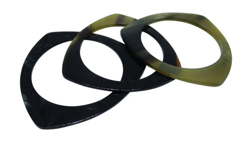 """Natural Flat Horn Bangles  Made from natural horn material. 2 7/8"""" opening Each bangle has its own unique color Circles, Triangles and Squares Made in India"""