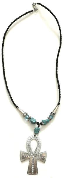 "Aluminum Ankh Beaded Pendant Necklace  12"" Necklace: 3"" Ankh Pendant; turquoise stones, aluminum cones."