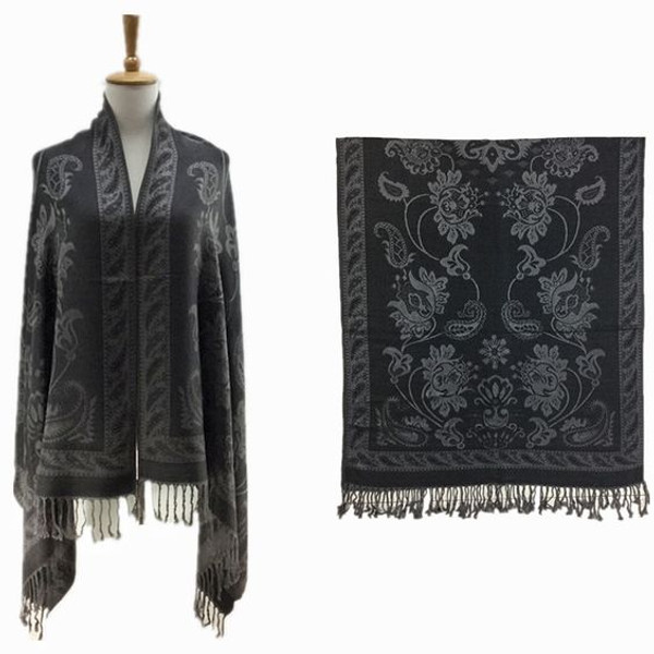 """Paisley Print Pashmina Fringe Shawls  Warm pashmina shawl with paisley print and fringe designs. 70"""" width x 28"""" length. 100% viscose and acrylic. Wear over or under your coat. Made in China."""