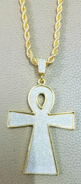 """Silver Ankh Shimmery Necklace  Shimmery faux diamond look ankh pendant; 3"""" silver zinc alloy/gold plated pendant with 30"""" chain.  Made in China."""