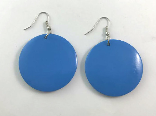 "Small Wooden Round Earrings  Light weight wooden glossy earrings; just the right size for those who don't wear large earrings. Colors: Turquoise, Black, Royal Blue, Purple, Red, Silver, Gold, Orange, Fuchsia, White.  1.5"" x 1.5""."