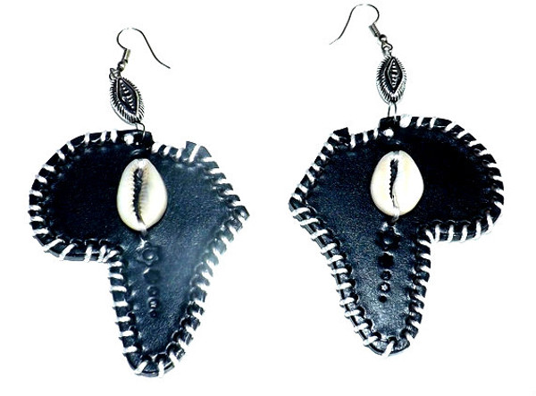 """Leather Cowrie Shell Earrings  Beautifully handmade leather cowrie shell earrings adorned with cowrie shells.  Mix of various shapes and styles all with cowrie shells and silver beading. 3"""" sized handmade leather earrings."""