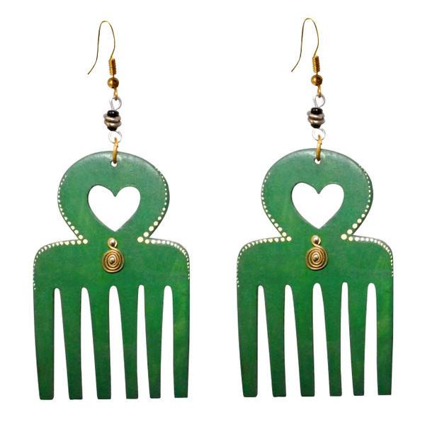 """Green Wooden Adinkra Duafe Earrings  Symbolism of beauty/feminism in Africa.  These earrings are 3"""" big and 2"""" wide."""