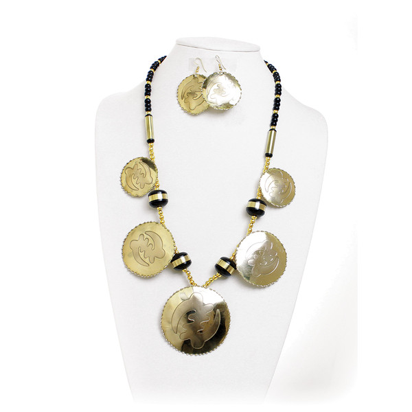 """Brass Gye Nyame Jewelry Set  Brass Gye Nyame Jewelry Set This Brass Gye Nyame Jewelry Set is a uniquely African way to accessorize your ensemble. The necklace is made of long, cylindrical beads that support brass oval pendants that have the Gye Nyame symbol carved into them. Comes with matching earrings. The necklace fits up to a 28"""" neck. The earrings are 2.5"""" long. Made in India"""