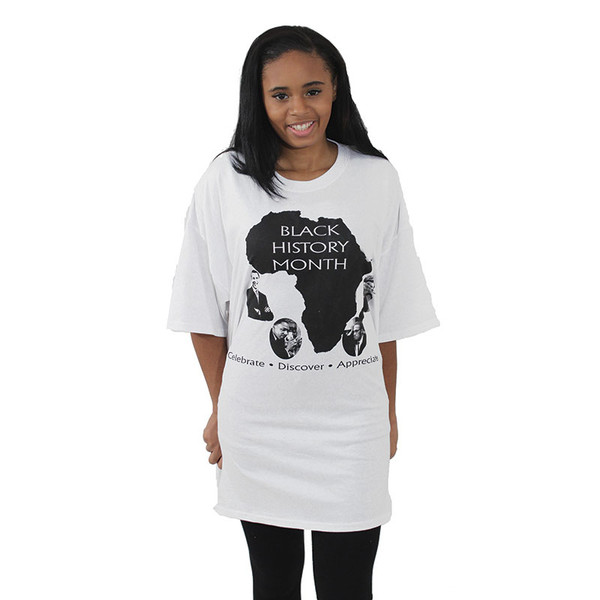 """Celebrate Black History in Style! Express yourself this February with this Black History Month T-Shirt. 100% cotton; can be machine washed. Small fits up to a 38"""" chest and 27"""" length. XL fits up to a 50"""" chest and 30"""" length. 2X fits up to a 56"""" chest and 32"""" length."""