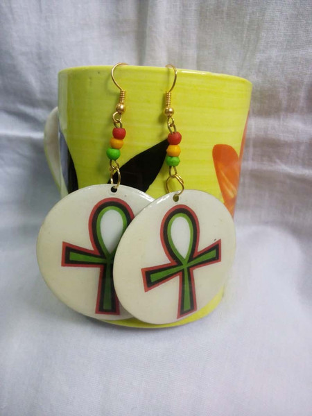 """Egyptian Ankh Earrings  Material: Metal, Acrylic Beads  These 2"""" earrings have a clear epoxy finish to protect the image. The art work is sealed."""