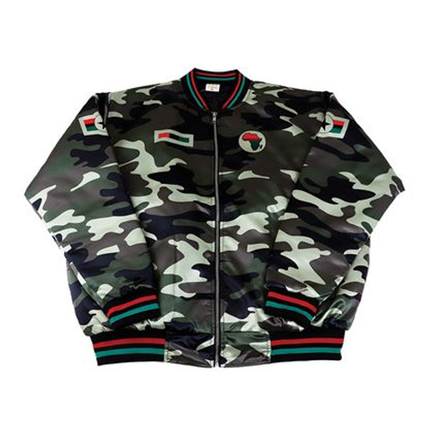 """Men's African Camo Bomber Jacket  The measurements for this jacket are:  MD - length 27"""" chest 52"""" LG - length 28"""" chest 54"""" XL - length 28"""" chest 56"""" 2X - length 28"""" chest 58"""" 100% polyester. Made in Pakistan."""