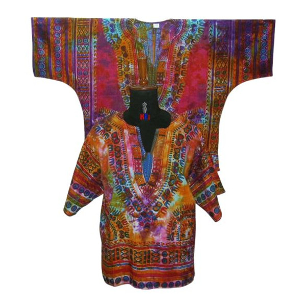 """Tie Dye Dashiki Top   A new look to the traditional dashiki top.  100% cotton Fits up to a 50"""" chest, Length is 38""""  Has two front pockets Hand Wash Bright colors"""