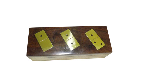 Handmade Wooden Dominoes Game  Handcrafted out of natural wood by Indian craftsmen The wooden box is decorated in brass dice inlay design; cover only. Each domino measure 2 inches by 1 inch in size; smaller pieces in comparison to the normal size The wooden box measures 2 inches by 2 inches by 7.75 inches Natural wooden construction with deep natural finish No racks included Made in India.