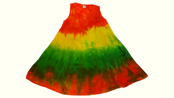 Girl's Tie Dye Dresses  One Size Fits most junior sizes.   100% Cotton  Chest:   Length:   Made in India.