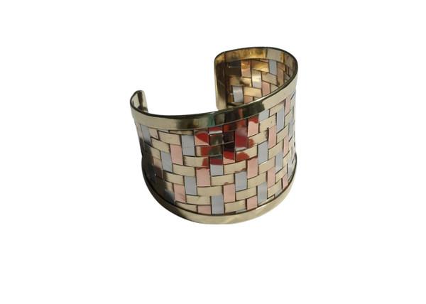 Woven Tri-Tone Cuff Bracelet